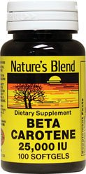 Nature's Blend Beta Carotene 25,000 IU 100 Softgels