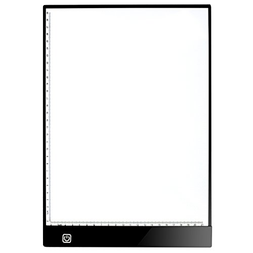 (A4 - 4mm Portable LED Light Box Tracer, Adjustable Light Pad for Tracing, LED Artcraft Tracing Light Pad Copy Board for Artists Drawing,Light Board for Diamond Painting X-Ray Film Reading (With Scale))
