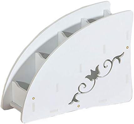 Kingt Fernbedienungshalter Schminktisch Schreibtisch Zubehör Organizer für Brillen, Handy, Klimaanlage Fernbedienung, TV-Fernbedienung, Controller, Kosmetik aus Holz BSS01W (weiß)