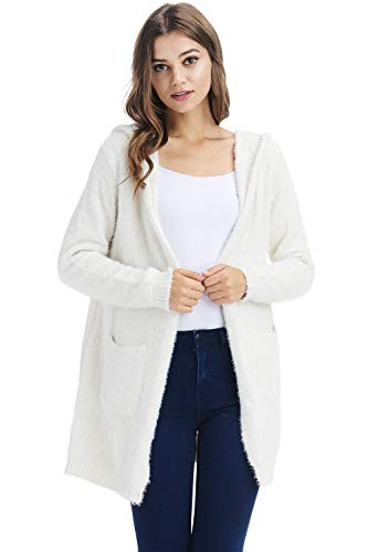 A+D Sweaters for Women - Soft and Warm Cardigan Sweaters with Hoodie, Open Front with Side Pockets, a Cute Fit