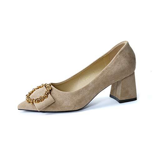 FLYRCX Damen Damen Damen Bequeme Arbeitsschuhe Wildleder Metallschnalle dick mit hohen Absätzen Spitzen flachen Mund einzelne Schuhe a27665