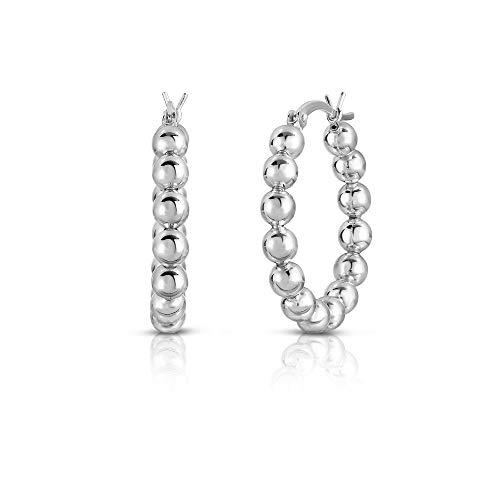 (Verona Jewelers Sterling Silver Bead Ball Hoop Earrings, Beaded Hoop Earrings for Women- Silver Bead Hoop Earring for Women, 925 Sterling Silver Bead Earring (Silver, 25))