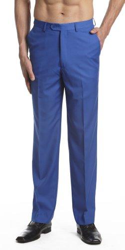CONCITOR Men's Dress Pants Trousers Flat Front Slacks Solid ROYAL ...