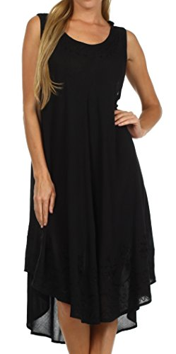 Sakkas 1051 Everyday Essentials Caftan Dress / Cover Up - Black - One Size