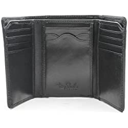 Tony Perotti Italian Leather Tri Billfold Wallet with ID Window and Multi Card Insert Slots Organizer Double Currency Divider Compartment, Black