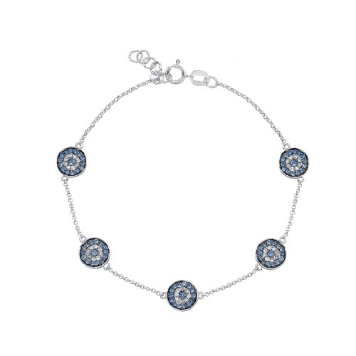 Victoria Kay 1/5ct White Diamond and Blue Sapphire Evil Eye Bracelet in 14k White Gold (I-J, (14k Blue Sapphire Bracelet)