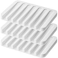 Emoly - Jabonera de Silicona (3 Unidades), diseño Antideslizante, fácil de Limpiar, Color Blanco