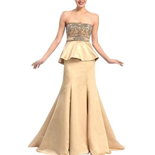 Sue Wong - W5206 Ornate Peplum Satin Gown Gold