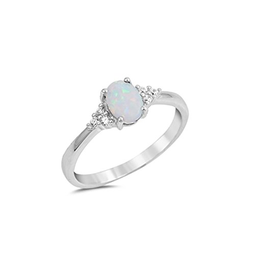 925 Sterling Silver Opal Ring (Wedding Engagement Ring Oval Cut Lab Created White Opal Round Cubic Zirconia 925 Sterling Silver, Size-7)