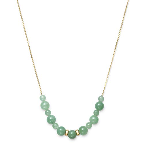 14k Yellow Gold Natural Green Jade Necklace, 18