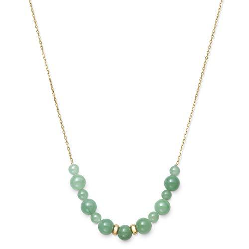 14k Yellow Gold Natural Green Jade Necklace, 18