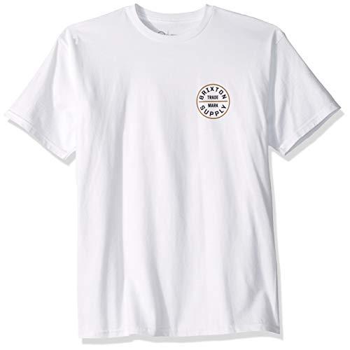 (Brixton Men's Oath S/S STND TEE, White/Bronze, XL)