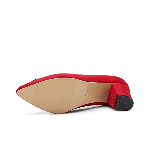 BalaMasa da donna zircone quadrato fibbia a punta Imitated Suede pumps-shoes, Rosso (Red), 35 EU