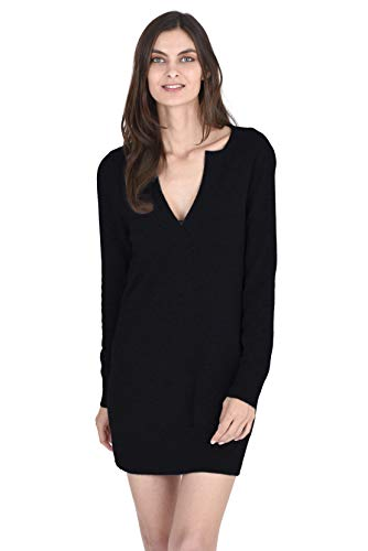 State Cashmere V-Neck Sweater Dress 100% Pure Cashmere Long Sleeve Pullover Tunic for Women (Large, Black)