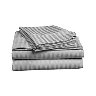 ITALIAN HOME COLLECTION 1500 TC Luxury Soft Wrinkle Resistant King Sheet Set,Striped GREY