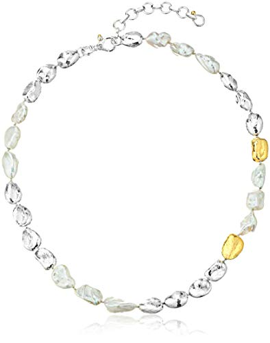 Gurhan Women's Spell Hue Collection Sterling Silver Pearl Nugget Single Strand Necklace, Adjustable
