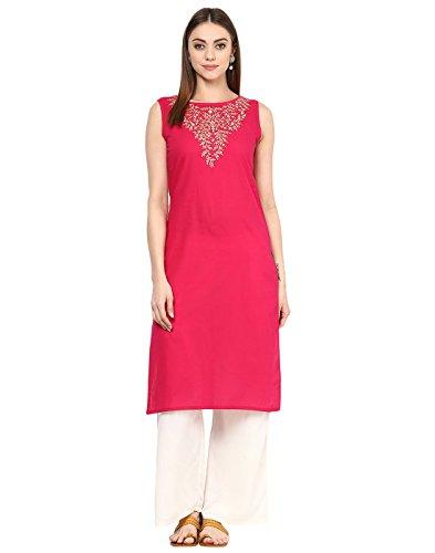 (Jaipur Kurti Women's Cotton Embroidery Kurta With Palazzo Set L Rani Pink)