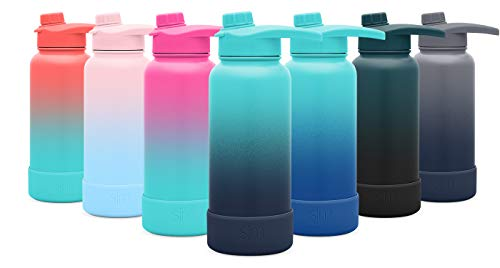 Simple Modern 22oz Summit Water Bottle with Chug Lid & Protective Boot - Hydro Vacuum Insulated Flask 18/8 Stainless Steel Powder Coated Ombre: Bermuda Deep