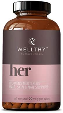 Wellthy Her Women's Multivitamin – Vegan Multivitamin for Women with All Natural Ingredients for Healthy Hair, Skin, & Nails – Support Your Health & Beauty with Essential Micronutrients – 90 Capsules