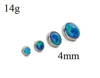 Painful Pleasures 14g 12g Internally Threaded Titanium 4mm Flat Opal Top Price Per 1