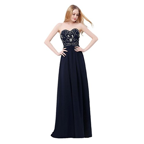 Dqfs Sweetheart Embroidery Beaded A-line Chiffon Long Party Evening Dress Navy Blue Size US4