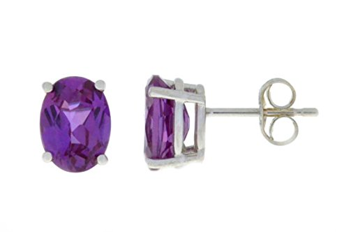 Created Alexandrite Oval Stud Earrings 14Kt White Gold & Sterling Silver