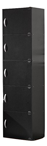 5-Door Modern Vertical Wooden Storage File Cabinet in Black by Generic