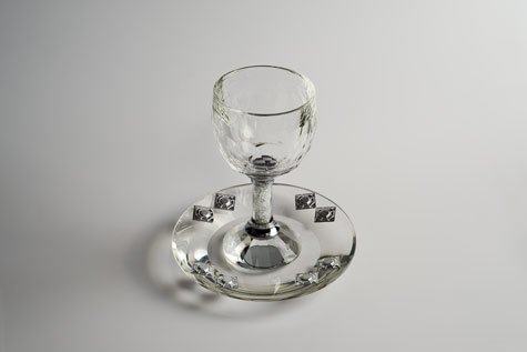 Kiddush Cup Crystal Filled With Saucer 6