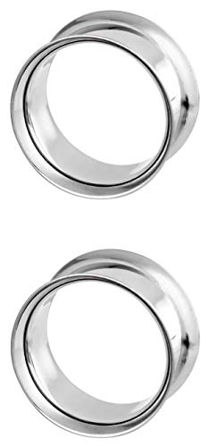 Forbidden Body Jewelry 1 1/2 Inch (38mm) Surgical Steel Mirror Finish Double Flared Tunnel Plug Earrings