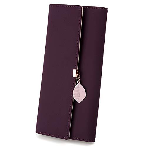 UTO Women PU Leather Wallet Large Capacity Leaf Pendant Card Phone Holder Checkbook Organizer Zipper Coin Purse Purple (Best Female Wallet Brand)