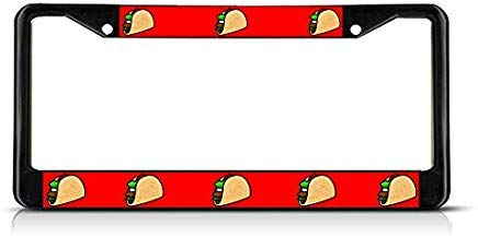 Voicpobo Taco Food Metal License Plate Frame Funny,Cute License Plate Cover,Car Tags Frame,Gifts for Women,for Men -