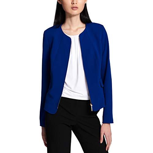Calvin Klein Womens Petites Crepe Zip-Front Collarless Blazer Blue 10P