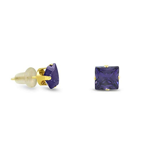 Crookston 10k Yellow Gold Square Stud Earrings -Purple Amethyst ~February Birthstone | Model ERRNGS - 14899 | 5mm - Top Seller