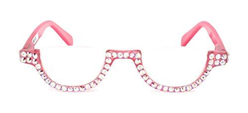 The Half Moon, Crystal Bling Reading Glasses Women Adorned with AB (Aurora Borealis) Swarovski Crystals +1.25, 1.50, 1.75, 2.00, 2.25, 2.50, 2.75, 3.00, 3.50, 4.00 Pink. NY Fifth Avenue. (Fifth Avenue Crystal Aurora)