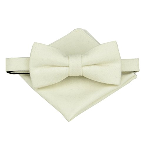 Tie Bow Ivory (Mens Various Plain Wool Bowtie with Matching Pocket Square Set (Ivory))