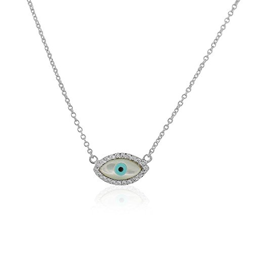 (925 Sterling Silver White CZ Simulated Mother-of-Pearl Evil Eye Hamsa Pendant)