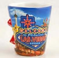 LM Las Vegas Shot Glass Welcome Sign With Spinning Dice ! Great Novelty Item 4 Pack With LV Magnet