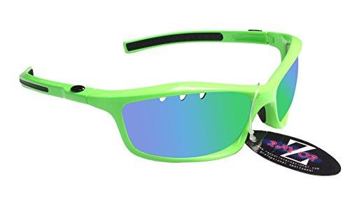 RayZor Professional léger UV400Vert Sports Wrap Lunettes de soleil, avec un objectif Miroir Vert aérés en iridium anti-reflets de Cricket