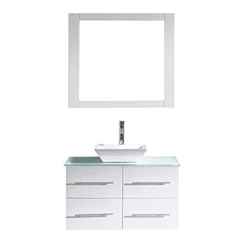 Virtu USA Marsala 35 inch Single Sink Bathroom Vanity Set in White w/Square Vessel Sink, Clear Tempered Glass Countertop, Single Hole Polished Chrome, 1 Mirror - MS-565-G-WH