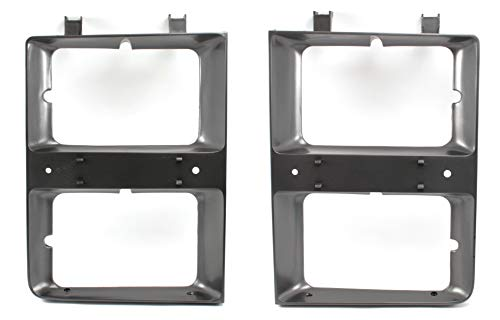OE Replacement New Dual Rectangle Headlight Bezels Trim Set Direct Replacement for 1983-1984 Chevrolet C10 C20 C30 Truck Blazer Suburban (Partslink Number GM2512109, GM2513109)