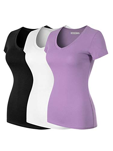 Design by Olivia Women's Basic Solid Multi Colors Fitted Short Sleeve T-Shirt [S-3XL] 3PACK - Black/White/Lavender S