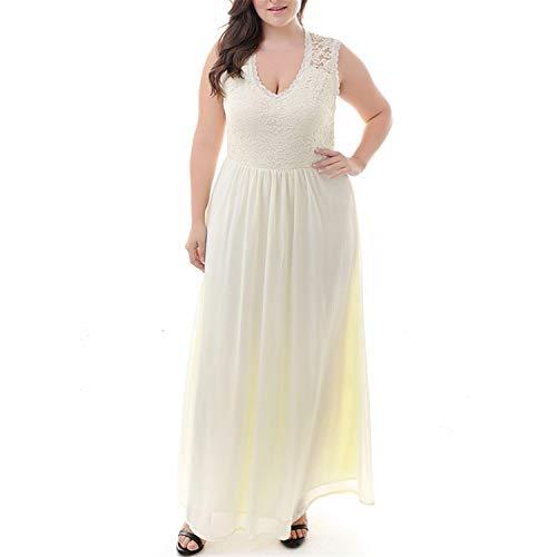 Elegant Lace Top Deep V-Neck Chiffon Party Dress Vintage 3/4 Sleeve Maxi Dress Beige 4XL