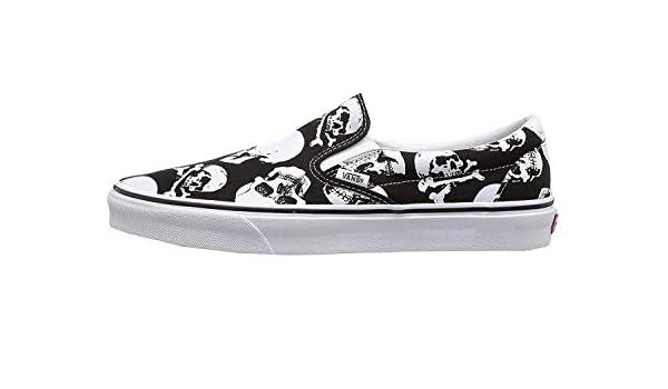 FM Famous Maker Mens U Clasic Slip ON Skulls Black White Size 5.5