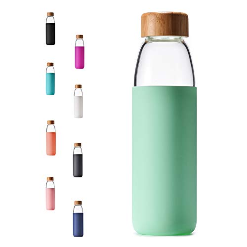 Veegoal 18 Oz Borosilicate Glass Water Bottle with Bamboo Lid and Protective Sleeve-Bpa Free (Mint Green)