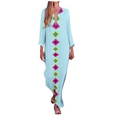 Kaftan Dresses for Women Boho Loose Tropical Oversized Sundress Pleat Tunic V Neck Long Maxi Dress JHKUNO: Clothing