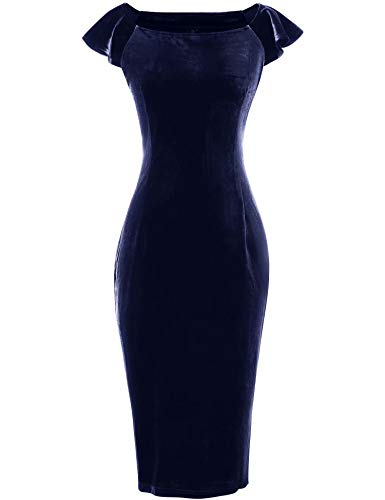 GownTown Women's Velvet Retro 1950s Style Sleeveless Slim Party Pencil Dress Dark Blue