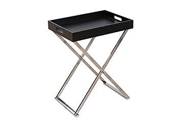 Dunord Design Beistelltisch Tabletttisch Jules Schwarz Silber