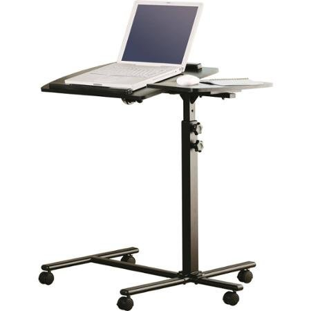 Mainstays Black Metal Frame Deluxe Adjustable Laptop Stands Cart Featuring 5 Set Positions