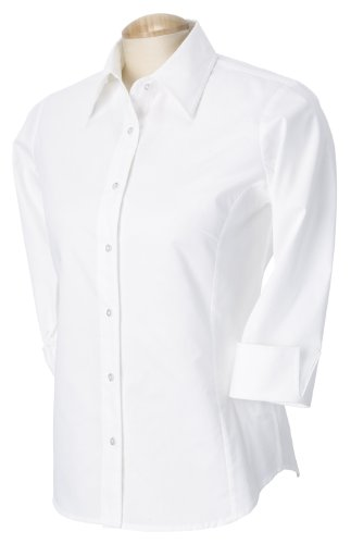 Devon & Jones Ladies' Three-Quarter Sleeve Stretch Poplin Blouse L White