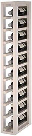 ZonaWine - Botellero pequeño en Madera de Pino o Roble de 10 Botellas. Modular de 105/13/35 cm Fondo - Pino Pintado Blanco